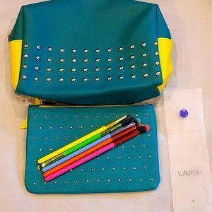 Ipsy Studded Teal Make Up Bag/Brush Set